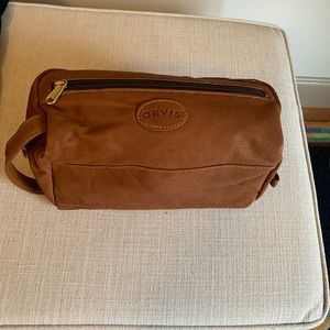 Authentic Orvis Brown Leather Toiletry Bag~EUC